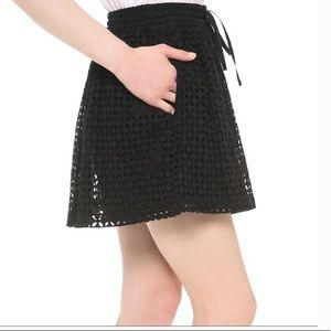 MADEWELL Black Eyelet Mini Skirt with Pockets XS
